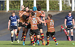 The Quins players celebrate victory with the last kick of the match by wing Frazier Climo.<br /> British &amp; Irish Cup<br /> Carmarthen Quins v Leinster A<br /> Carmarthen Park<br /> 25.10.14<br /> &copy;Steve Pope-SPORTINGWALES