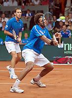 19-9-09, Netherlands,  Maastricht, Tennis, Daviscup Netherlands-France, Dubbles Tsonga(r) en Llodra