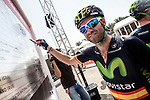 Alejandro Valverde (ESP) Movistar Team signs on before the start of Stage 3, The Al Ain Stage, of the 2015 Abu Dhabi Tour starting from the Al Qattara Souq in Al Ain and running 142 km to the mountain top finish at Jebel Hafeet at 1025 metres, Abu Dhabi. 10th October 2015.<br /> Picture: ANSA/Claudio Peri | Newsfile
