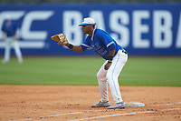 Duke Blue Devils first baseman Jalen Phillips (22) on defense against the Florida State Seminoles in the first semifinal of the 2017 ACC Baseball Championship at Louisville Slugger Field on May 27, 2017 in Louisville, Kentucky. The Seminoles defeated the Blue Devils 5-1. (Brian Westerholt/Four Seam Images)