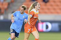 Houston, TX - Friday April 29, 2016: Kealia Ohai (7) of the Houston Dash complains to the referee about an offsides call at BBVA Compass Stadium. The Houston Dash tied Sky Blue FC 0-0.