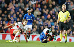 25.10.18 Rangers v Spartak Moscow: Daniel Candeias takes a sore one from Roman Zobnin
