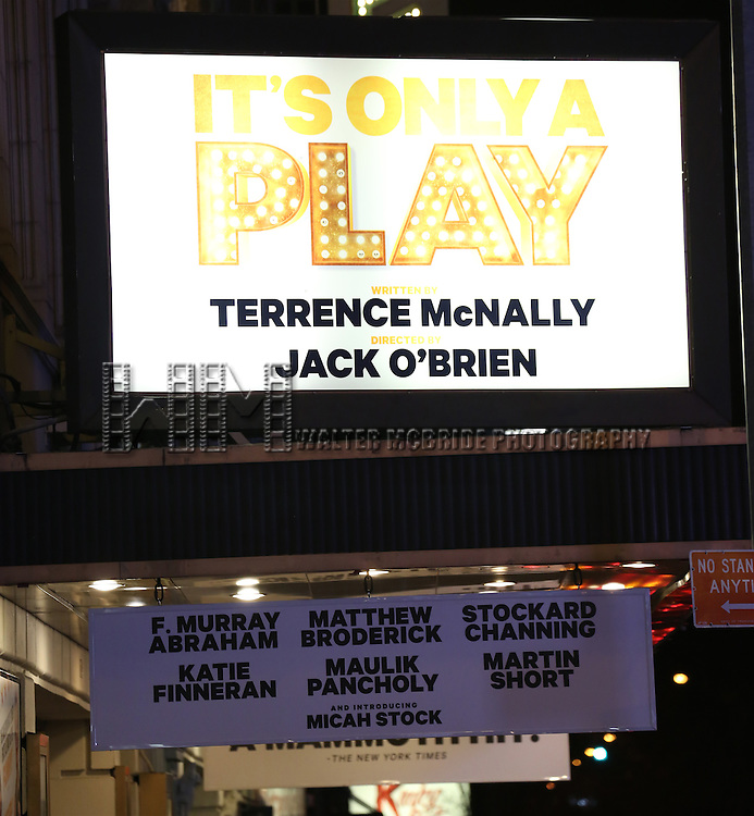 Theatre Marquee for the re-opening night Curtain Call for 'It's Only A Play' starring Martin Short and Matthew Broderick at the Bernard B. Jacobs Theatre on January 23, 2014 in New York City.