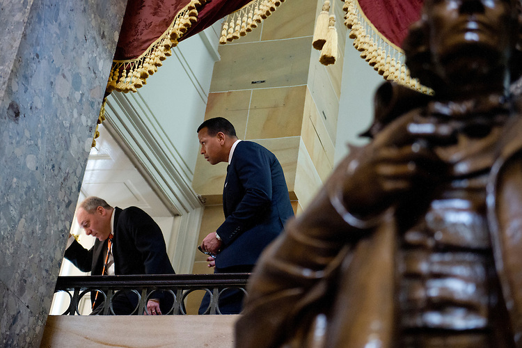 UNITED STATES - MAY 20: Alex Rodriguez of the New York Yankees, right, walks around the balcony of the Capitol's Statuary Hall while on a tour with House Majority Whip Steve Scalise, R-La., May 20, 2015. (Photo By Tom Williams/CQ Roll Call)