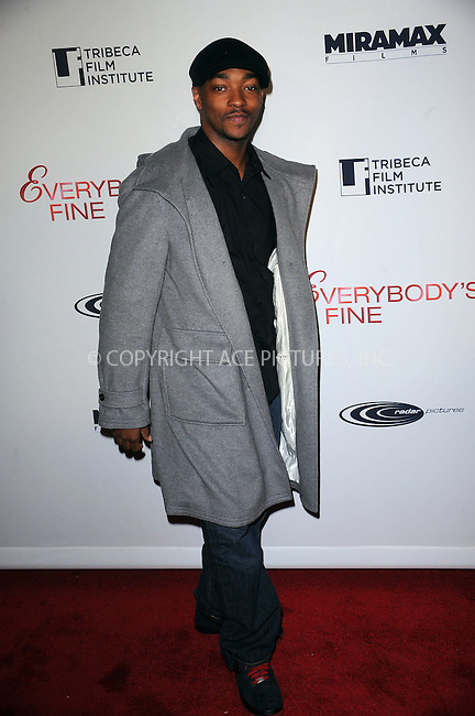 WWW.ACEPIXS.COM . . . . . ....December 3 2009, New York City....Actor Anthony Mackie arriving at the Tribeca Film Institute benefit screening of 'Everybody's Fine' at AMC Lincoln Square on December 3, 2009 in New YorkCity ....Please byline: KRISTIN CALLAHAN - ACEPIXS.COM.. . . . . . ..Ace Pictures, Inc:  ..(212) 243-8787 or (646) 679 0430..e-mail: picturedesk@acepixs.com..web: http://www.acepixs.com