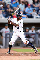 West Michigan Whitecaps outfielder Wynton Bernard (36) at bat during a game against the Great Lakes Loons on June 5, 2014 at Fifth Third Ballpark in Comstock Park, Michigan.  West Michigan defeated Great Lakes 6-2.  (Mike Janes/Four Seam Images)