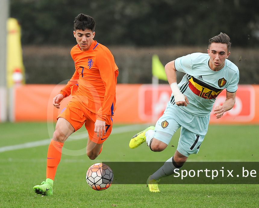 20170314 - UDEN , NETHERLANDS : pictured during the UEFA Under 17 Elite round game between The Netherlands U17 and Belgium U17, on the first matchday in group 5 of the Uefa Under 17 elite round in The Netherlands , tuesday 14 th March 2017 . PHOTO SPORTPIX.BE | DIRK VUYLSTEKE