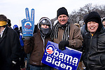 Spectators brave cold winter weather to attend the inauguration of Barack Obama as the 44th president of the United States of America, Tuesday, Jan. 20, 2009, in Washington, D.C. (Heather Halstead/pressphotointl.com)