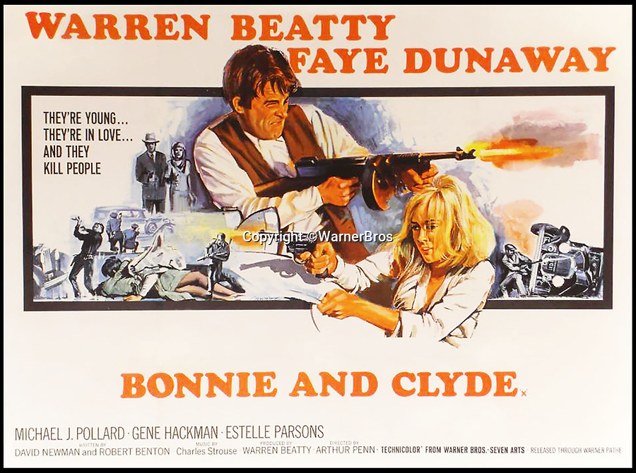 BNPS.co.uk (01202 558833)<br /> Pic: WarnerBros<br /> <br /> Warren Beatty and Faye Dunaway starred in the 1967 Hollywood blockbuster that made Bonnie and Clyde famous.<br /> <br /> Incredible family album of America's most notorious ganster couple comes to light.<br /> <br /> Remarkable never before seen photos of Bonnie and Clyde have come to light alongside poems penned by the infamous crime duo.<br /> <br /> The collection of snaps which primarily date from 1933 and 1934 includes photos of the famous fugitives on the run and cars full of bullet holes.<br /> <br /> Others show Clyde's brother Buck Barrow, his wife Blanche and other members of the notorious Barrow gang.<br /> <br /> One fascinating poem, penned by Clyde in September 1933, shows a compassionate side to the fugitive as he pleads for 'forgiveness' for what they've done, even describing himself and Bonnie as 'sinners'.