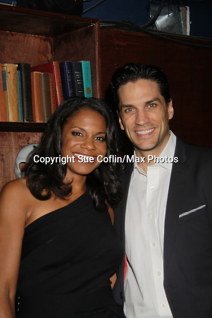 """Audra McDonald stars as """"Bess"""" in The Gershwins' Porgy and Bess and poses with fiance Will Swenson on Opening Night - January 12, 1212 at the Richard Rogers Theatre, New York City, New York.  (Photo by Sue Coflin/Max Photos)"""