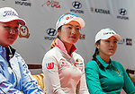 Kim Hye-youn (c) of Korea, Wang Ziyi (l) of China and Hur Mi-jung (r) of Korea attend the press conference ahead of the Hyundai China Ladies Open 2014 on December 10 2014 at Mission Hills Shenzhen, in Shenzhen, China. Photo by Li Man Yuen / Power Sport Images
