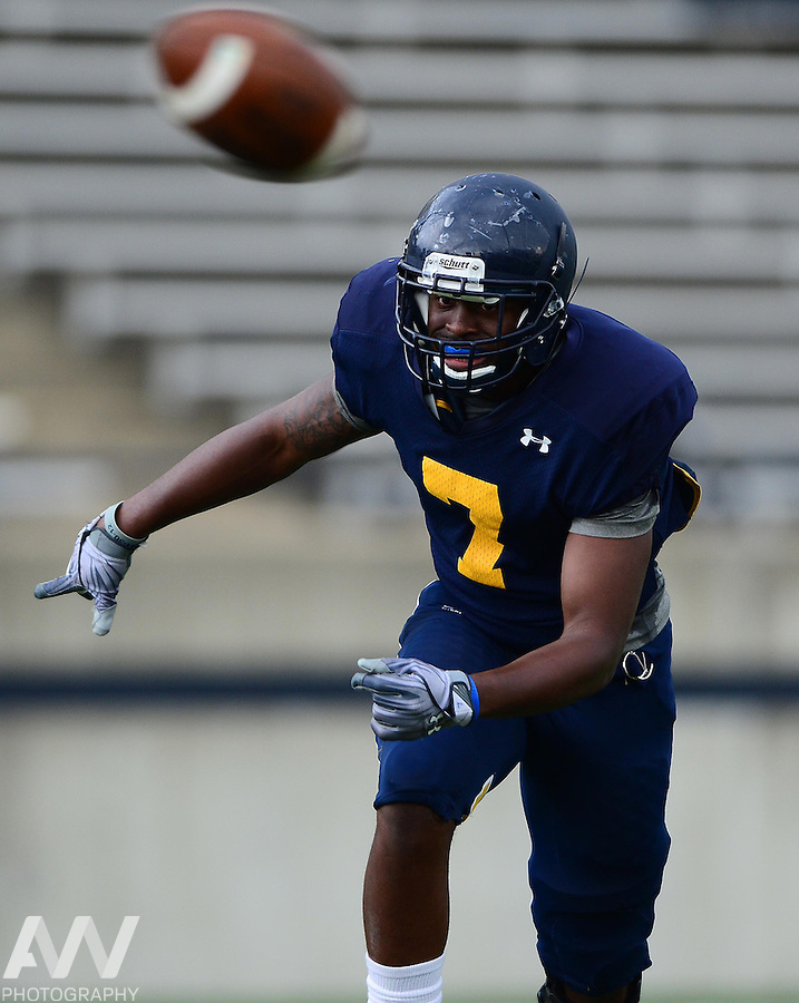 Aug 15, 2012; Toledo, OH, USA; Toledo Rockets safety Vladimir Emilien (7) during practice at the Glass Bowl. Mandatory Credit: Andrew Weber-US Presswire