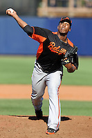Baltimore Orioles pitcher Pedro Strop #47 delivers a pitch during a spring training game against the Tampa Bay Rays at the Charlotte County Sports Park on March 5, 2012 in Port Charlotte, Florida.  (Mike Janes/Four Seam Images)