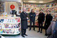 Jean-paul Abonnenc Directeur general de Mediakiosk, Olivia Polski adjointe a la maire de Paris - Inauguration des nouveaux kiosques de presse parisien, 13/03/2017