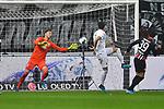 06.10.2019, Commerzbankarena, Frankfurt, GER, 1. FBL, Eintracht Frankfurt vs. SV Werder Bremen, <br /> <br /> DFL REGULATIONS PROHIBIT ANY USE OF PHOTOGRAPHS AS IMAGE SEQUENCES AND/OR QUASI-VIDEO.<br /> <br /> im Bild: Parade von Jiri Pavlenka (#1, SV Werder Bremen) gegen Goncalo Paciencia (Eintracht Frankfurt #39)<br /> <br /> Foto © nordphoto / Fabisch