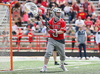 College Park, MD - April 22, 2018: Ohio State Buckeyes Josh Kirson (8) makes a save during game between Ohio St. and Maryland at  Capital One Field at Maryland Stadium in College Park, MD.  (Photo by Elliott Brown/Media Images International)