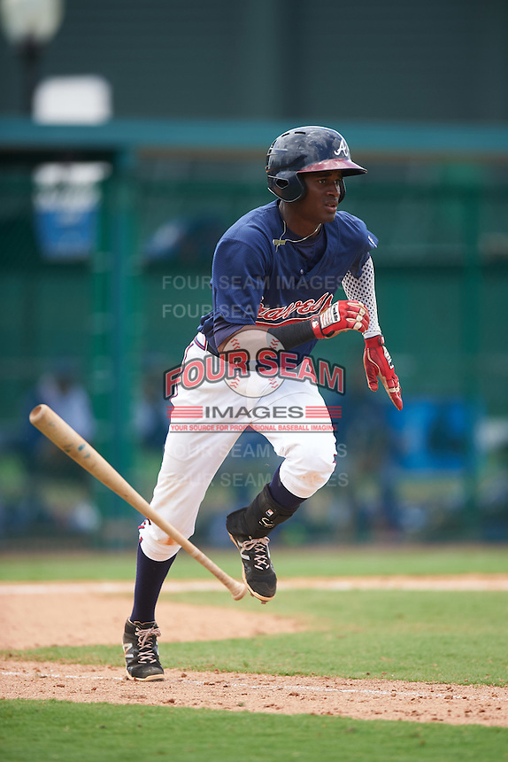 GCL Braves third baseman Alex Aquino (1) runs to first during a game against the GCL Blue Jays on August 5, 2016 at ESPN Wide World of Sports in Orlando, Florida.  GCL Braves defeated the GCL Blue Jays 9-0.  (Mike Janes/Four Seam Images)