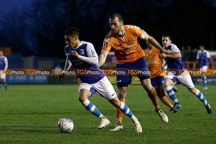 Tyler Smith of Barrow seeks to evade the attentions of Joe Ellul of Braintree, his subsequent appeals for a penalty were turned down during Braintree Town vs Barrow, Vanarama National League Football at the IronmongeryDirect Stadium on 1st December 2018