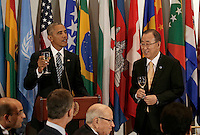United States President Barack Obama (L) raises a toast to the United Nations Secretary-General Ban-Ki moon (R) at a luncheon for world leaders during the United Nations 71st session of the General Debate at United Nations  headquarters in New York, New York, USA, 20 September 2016. Photo Credit: Peter Foley/CNP/AdMedia