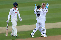 Gareth Berg of Hampshire celebrates taking the wicket of Simon Harmer during Essex CCC vs Hampshire CCC, Specsavers County Championship Division 1 Cricket at The Cloudfm County Ground on 20th May 2017