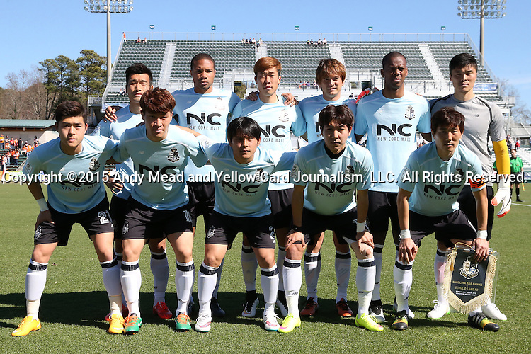 08 March 2015: Seoul E-Land's starters. Front row (from left): Kim Young-Keun (KOR), Lee Jae-An (KOR), Kim Min-Je (KOR), Hwang Do-Yeon (KOR), Kim Jae-Sung (KOR). Back row (from left): Cho Won-Hee (KOR), Ryan Johnson (JAM), Yoon Sung-Yeul (KOR), Robert Cullen (JPN), Carlyle Mitchell (TRI), and Kim Young-Kwang (KOR). The Carolina RailHawks of the North American Soccer League played Seoul E-Land FC of the K-League Challenge at WakeMed Stadium in Cary, North Carolina in a 2015 preseason friendly for both clubs. The game ended in a 0-0 tie. Afterwards, Seoul E-Land won a penalty kick shootout 5-4.