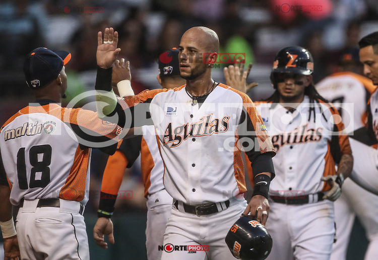 Ronny Cede&ntilde;o  celebra carrera de Venezuela, durante el partido de beisbol de la Serie del Caribe entre Alazanes de Granma Cuba vs las &Aacute;guilas del Zulia Venezuela en el Nuevo Estadio de los Tomateros en Culiacan, Mexico, Sabado 4 Feb 2017. Foto: Luis Gutierrez/NortePhoto.com.    ****<br /> <br /> Actions, during the Caribbean Series baseball match between Granma Cuba vs Alajuelas de Zulia Venezuela at the New Tomateros Stadium in Culiacan, Mexico, Saturday 4 Feb 2017. Photo: Luis Gutierrez / NortePhoto.com