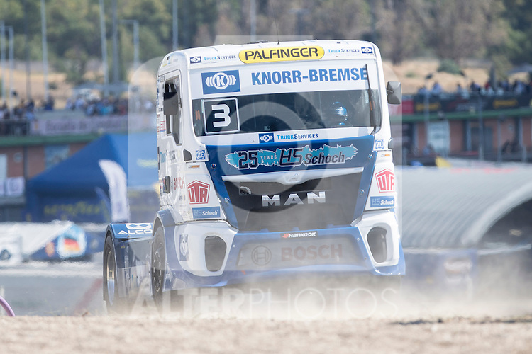 German driver Jochen  Hahn belonging German team Jochen Hahn during the fist race R1 of the XXX Spain GP Camion of the FIA European Truck Racing Championship 2016 in Madrid. October 01, 2016. (ALTERPHOTOS/Rodrigo Jimenez)
