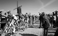 riders over the first cobbled section of the day: the Huisepontweg<br /> <br /> 100th Ronde van Vlaanderen 2016