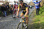 Sylvain Chavanel (FRA) Direct Energie climbs Oude Kwaremont during the 60th edition of the Record Bank E3 Harelbeke 2017, Flanders, Belgium. 24th March 2017.<br /> Picture: Eoin Clarke | Cyclefile<br /> <br /> <br /> All photos usage must carry mandatory copyright credit (&copy; Cyclefile | Eoin Clarke)