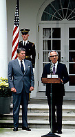 Washington DC.,USA, October 9, 1984<br /> President Ronald Reagan meets with Israeli Prime Minister Shimon Peres in the Rose Garden. Credit: Mark Reinstein/MediaPunch
