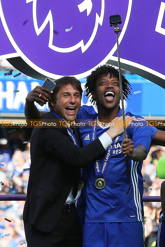 Nathaniel Chalobah of Chelsea takes a selfie with Manager, Antonio Conte during Chelsea vs Sunderland AFC, Premier League Football at Stamford Bridge on 21st May 2017