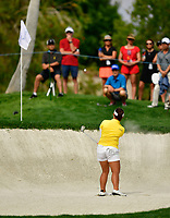 Moriya Jutanugarn of Thailand plays a shot from a bunker on the eighth hole during the final round of the ANA Inspiration at the Mission Hills Country Club in Palm Desert, California, USA. 4/1/18.<br /> <br /> Picture: Golffile | Bruce Sherwood<br /> <br /> <br /> All photo usage must carry mandatory copyright credit (&copy; Golffile | Bruce Sherwood)