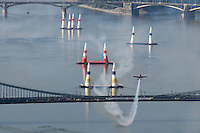 0708185388a Red Bull Air Race international air show practice runs over the river Danube, Budapest preceding the anniversary of Hungarian state foundation. Hungary. Saturday, 18. August 2007. ATTILA VOLGYI
