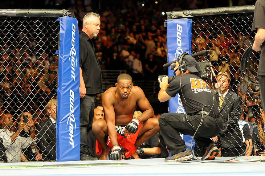 "24 SEPTEMBER 2011:   Jon ""Bones"" Jones prepares to enter the octagon  during UFC 135 at the Pepsi Center in Denver, Colorado. *****For Editorial Use Only*****"