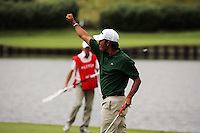 Pablo Larrazabal after sinking his birdie putt on the 2nd green during the final round of the 2008 Open de France Alstom at Golf National, Paris, France June 29th 2008 (Photo by Eoin Clarke/GOLFFILE)