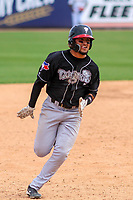 Lansing Lugnuts outfielder Norberto Obeso (9) rounds third base during a Midwest League game against the Wisconsin Timber Rattlers on May 8, 2018 at Fox Cities Stadium in Appleton, Wisconsin. Lansing defeated Wisconsin 11-4. (Brad Krause/Four Seam Images)