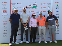 Thomas Bjorn (Capt. Rest of the World), Chris Woods, Pawan Munjal (Chairman Hero),Emilio Grillo and Andrew Johnston during the Hero Skills Challenge of the Hero Indian Open at the DLF Golf and Country Club on Mondy 5th March 2018.<br /> Picture:  Thos Caffrey / www.golffile.ie<br /> <br /> All photo usage must carry mandatory copyright credit (&copy; Golffile | Thos Caffrey)