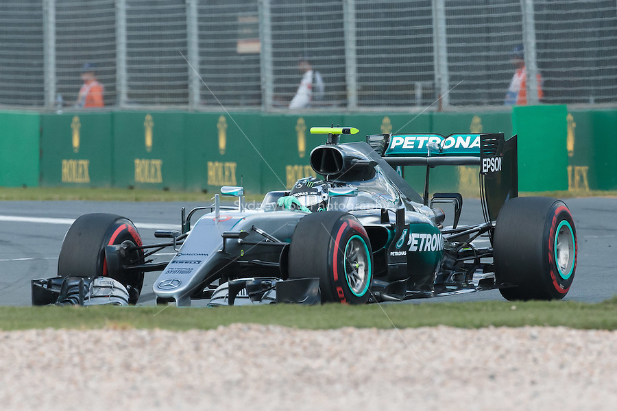 March 20, 2016: Nico Rosberg (DEU) #6 from the Mercedes AMG Petronas team at turn one of the 2016 Australian Formula One Grand Prix at Albert Park, Melbourne, Australia. Photo Sydney Low