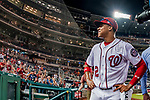 21 May 2018: Washington Nationals outfielder Juan Soto, making his first career Major League start, looks up at the stands after his historic game against the San Diego Padres at Nationals Park in Washington, DC. The 19 year-old Soto hit a 3-run home run on the first pitch he faced as the Nationals defeated the Padres 10-2, taking the first game of their 3-game series. Mandatory Credit: Ed Wolfstein Photo *** RAW (NEF) Image File Available ***