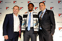 Philadelphia, PA - Thursday January 19, 2018: Adrian Heath, Carter Manley, Manny Lagos during the 2018 MLS SuperDraft at the Pennsylvania Convention Center.