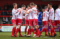 Dean Bowditch of Stevenage scores the second goal for his team and celebrates (L) during Stevenage vs Crewe Alexandra, Sky Bet EFL League 2 Football at the Lamex Stadium on 10th March 2018