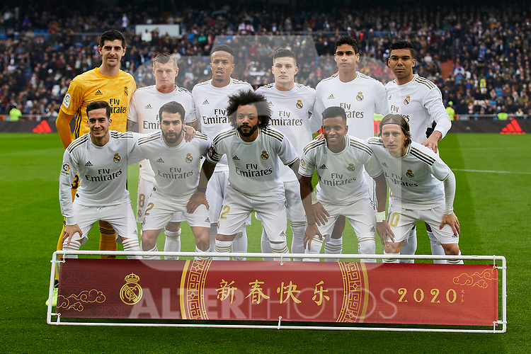 Team photo of Real Madrid during La Liga match between Real Madrid and Sevilla FC at Santiago Bernabeu Stadium in Madrid, Spain. January 18, 2020. (ALTERPHOTOS/A. Perez Meca)