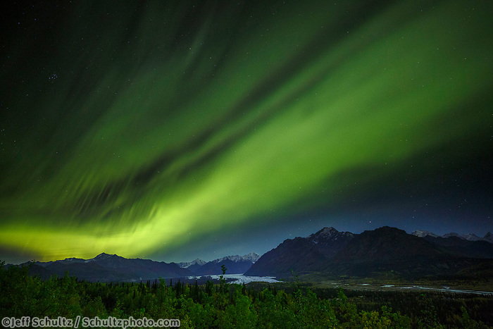 Fall landscape of Aurora  Borealis (Northern Lights) over Chugach Mountains and Matanuska Glacier in Matanuska Valley... Southcentral, Alaska<br /> <br /> Photo by Jeff Schultz/SchultzPhoto.com  (C) 2018  ALL RIGHTS RESERVED
