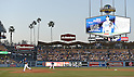 Kenta Maeda (Dodgers),<br /> APRIL 1, 2016 - MLB :<br /> The screen shows the profile and picture of Kenta Maeda of the Los Angeles Dodgers as he pitches during a spring training baseball game against the Los Angeles Angels at Dodger Stadium in Los Angeles, California, United States. (Photo by AFLO)