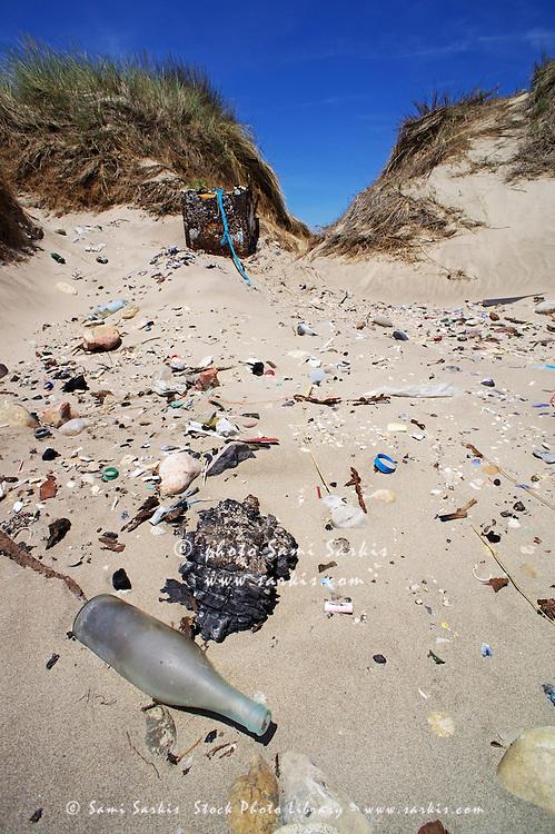 Rubbish on a sand dune, Piemanson beach, Camargue, France