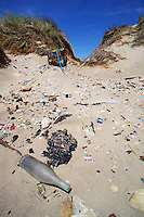 Rubbish on a sand dune, Piemanson beach, Camargue, France