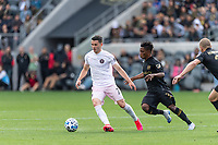 LOS ANGELES, CA - MARCH 01: Lewis Morgan #7 of Inter Miami CF and Latin Blessing #7 of LAFC compete for the ball during a game between Inter Miami CF and Los Angeles FC at Banc of California Stadium on March 01, 2020 in Los Angeles, California.