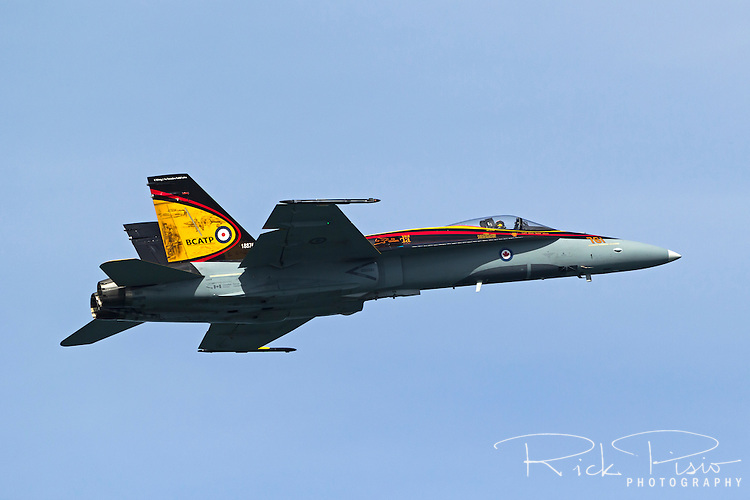 Canadian Air Force CF-18 in British Commonwealth Air Training Program (BCATP) tribute scheme and piloted by Captain Ryan Kean in a flight demonstration during their 2016 air show tour.