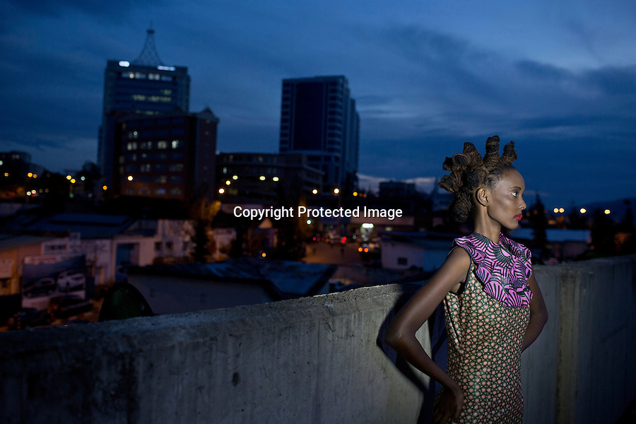 KIGALI, RWANDA NOVEMBER 7: A model poses for pictures backstage before the gala night at Kigali Fashion week on November 7, 2014 held at Kigali City Towers in Kigali, Rwanda. Designers and from Rwanda, Burundi and Uganda showed their latest collections at the yearly event. The event was held at a parking lot at a popular shopping mall in Kigali. (Photo by: Per-Anders Pettersson)