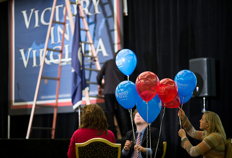 UNITED STATES - NOVEMBER 6: Campaign workers blow up Romney Ryan balloons in preparation for the Virginia Republicans' election night party in Richmond, Va., on Tuesday, Nov. 6, 2012. Republican candidate for Senate George Allen and House Majority Leader Eric Cantor are expected on stage at the event later in the evening. (Photo By Bill Clark/CQ Roll Call)